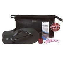OPI PEDICURE 'HOLIDAY IN TOYLAND' SALON PACK: NAIL HARDENER, POLISH, THONGS, BAG