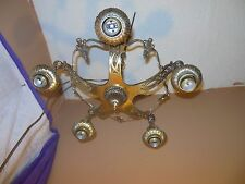 SOLID BRASS ANTIQUE VINTAGE ART DECO CEILING 5 LIGHT FIXTURE CHANDELIER ORNATE