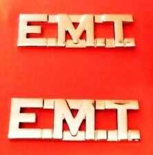 """EMT Collar Pin Set Nickel 1/2"""" Cut Out Letters Emergency Medical Technician 2507"""