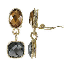 Gold Plated Champagne Gray Crystals Square Oval Braid Dangle Clip On Earrings