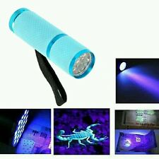 Mini Aluminum UV ULTRA VIOLET 9 LED FLASHLIGHT BLACKLIGHT Torch Light Lamp