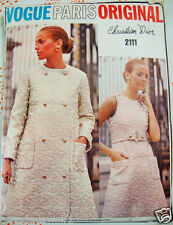 VINTAGE 60'S VOGUE Paris Original DIOR 2111-dress * Cappotto Giorno / Sera Sew PATTERN