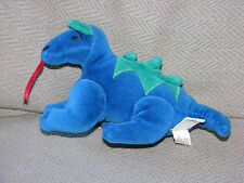MANHATTAN TOY STUFFED PLUSH BEAN BAG VELOUR DRAGON 1997 BLUE GREEN 8""