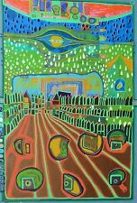 Friedensreich Hundertwasser Street of(for) Survivors signed mixed media Regentag