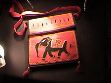"red elephant purse with 2 compartments 9"" shoulder bag"