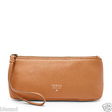 Fossil Original SL6728235 Camel Small Cosmetic Case Leather Women's Wallet