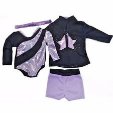 "Doll Clothes Fit AG 18"" Gymnastic Leotard Shorts Jacket Fits American Girl Dolls"