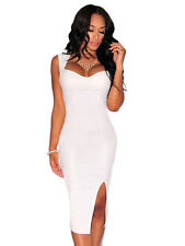 Women's Dress White Faux Leather Sweetheart Neck Padded Bodycon Midi S M L New