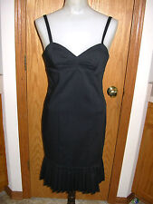 EXPRESS-BLK-THIN STRAP-MINI DRESS-FITTED-PLEATED HEM-LINED-STRETCH-0-HOT!!-EUC