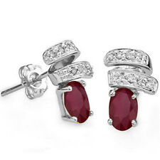 LOVELY DIAMOND & GENUINE RUBY PLATINUM OVER 925 STERLING SILVER EARRINGS