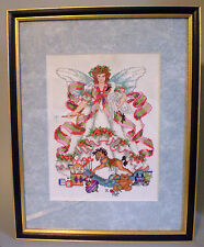 Large Custom Framed Finished Christmas Angel Cross Stitch Beautiful Detail Color