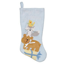 NWT Holiday Living Collection Plush 16-inch Blue Baby's First Christmas Stocking