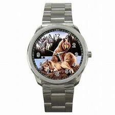 Silver Wolf Pack of Wild Wolves Animal Accessory Stainless Steel Sport Watch New