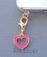 Pink Gold Heart cell phone Charm Anti Dust proof Plug ear jack For iPhone C146