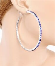 Fashion Jewelry Earrings Saphire Blue Crystal & Silver Large 3in. Hoops/Hoop