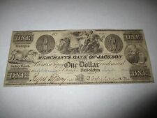 $1 1840 Brooklyn Michigan MI Obsolete Currency Bank Note Bill! Jackson County