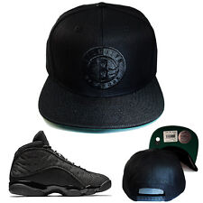 Mitchell & Ness Brooklyn Nets Black Snapback Hat Matches with Jordan 13 Blackcat