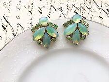 Vintage Juliana D&E Light Green Art Glass Moonglow Rhinestone Clip Earrings