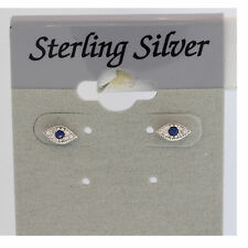 Mini Evil Eye Stud Earrings Sterling Silver Trendy Stud  6mm  Blue & White CZ