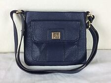 Anne Klein EXPANDABLE Trinity Crossbody Bag Navy Blue Pebble Leather Purse