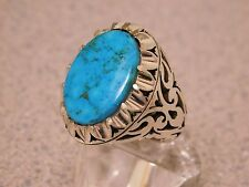 COSTUME DESIGN CARVE CUT HAND MADE MEN'S SILVER RING / LARGE BLUE TURQUOISE