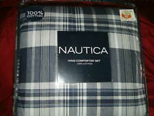 NAUTICA   BLUE WHITE PLAID  4 PC  KING COMFORTER SHAMS BEDSKIRT