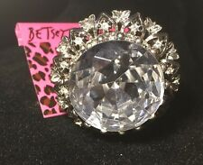 Betsey Johnson HUGE Vintage Antique Silver Clear Diamond Crystal Ring RARE  NWT