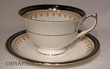 AYNSLEY china LEIGHTON-COBALT Smooth pattern Cup & Saucer