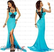 Womens Evening Dress Maxi Blue Ball Gown Prom Party Formal Long Lace.Size 8 10 S