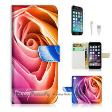 "iPhone 6 (4.7"") Print Flip Wallet Case Cover! Beautiful Rose Flower P0264"