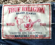 AUTHENTIC TRUE RELIGION DENIM JEAN SECTION MARCO BIG T Sz 30x26 MADE IN USA.