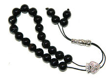 0588 - Prayer Worry Beads Loose String Greek Komboloi 10mm Black Agate Gemstone