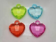 50 Mixed Color Transparent Acrylic Faceted Heart Pendants 19X18mm