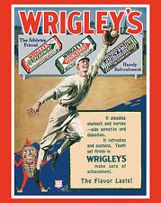 1920's Wrigley's Chewing Gum Vintage Baseball Themed Ad Poster - 8x10 ColorPhoto