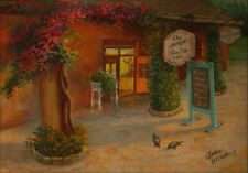 "Florida summer cafe. Original pastel on paper 13""x18.5"" painting from artist"