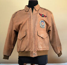 Men's F-4 Phantom Leather Bomber Jacket with Patches Mens Brown Medium