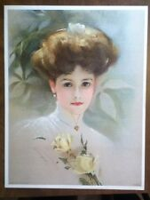 1909 Victorian Lady with Fancy Hairdo and Yellow Roses  Vintage Old Lithograph