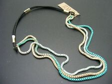 $14 Carole Inc 3-strand Enamel/Epoxy Box Chain Headband Hair Band Green/Tan