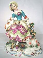 Chelsea Anchor Dresden Porcelain Figure Woman Pekingese Dog Lamb Bocage