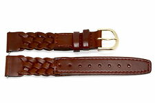 18MM LONG DARK BROWN BRAIDED STITCHED LEATHER WATCH BAND STRAP