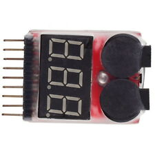 1-8S Lipo/Li-ion/Fe Battery Low Voltage Meter Tester Buzzer Alarm AS