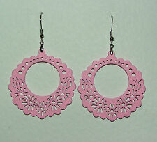 PALE PINK LASER CUT FILIGREE WOOD DONUT HOOP EARRINGS SILVER PLATED hook