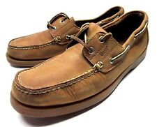 BASS MENS BOAT SHOES SIZE 11 M TAN COLOR LEATHER CASUAL DECK FOOTWEAR