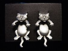 """JJ"" Jonette Jewelry Silver Pewter Large 'CAT 3-D' Pierced Earrings"