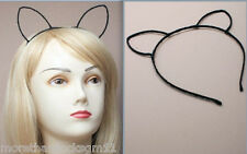 BLACK KITTY CAT EARS RIBBON WRAPPED WIRE HEADBAND ALICE BAND FANCY DRESS PARTY