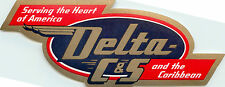 Serving the Heart Of America ~DELTA / C&S AIRLINES~ Old Luggage Label, c. 1955