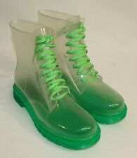 Womens Ladies Transparent Green Trim Rubber Ankle Rain Boots Size 8 EU41
