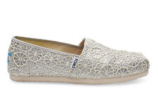 NEW TOMS Shoes Flats Silver Crochet Glitter Classic 6 Bridal!