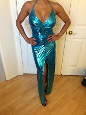 Connie's Sexy Metallic Teal Halter Maxi with leg slit Size Small
