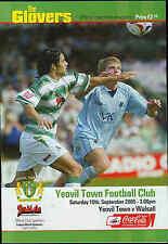 Football Programme - Yeovil Town v Walsall - League 1 - 2005